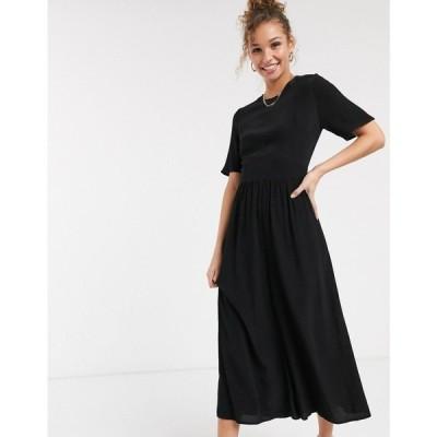エイソス ASOS DESIGN レディース オールインワン ジャンプスーツ ワンピース・ドレス Tea Jumpsuit With Button Back Detail In Black ブラック