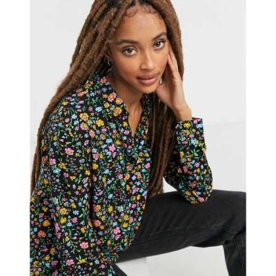 リーバイス レディース シャツ トップス Levi's dunsmuir floral shirt in black Meteorite