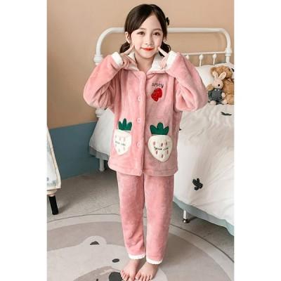 女の子 冬 暖か パジャマ ルームウェア ピンク イチゴ パイン ボタン ズボン お泊り会 上下 もこもこ 110〜170