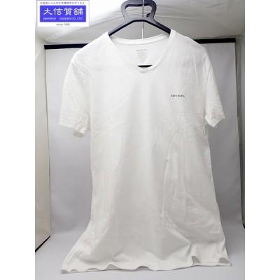 DIESEL ディーゼル 半袖 Tシャツ M コットン Vネック ホワイト 中古B 【送料無料】 A-7293