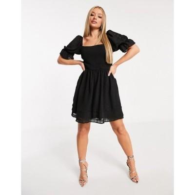 ミスガイデッド レディース ワンピース トップス Missguided shirred skater dress in black