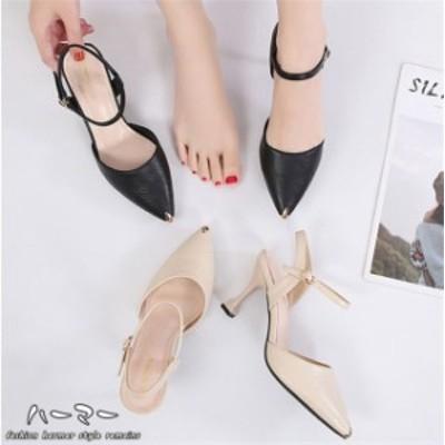 レディース パンプス 夏 サンダル シンプル ポインテッドト おしゃれ 靴 履きやすい ストラップ インステップ サンダル