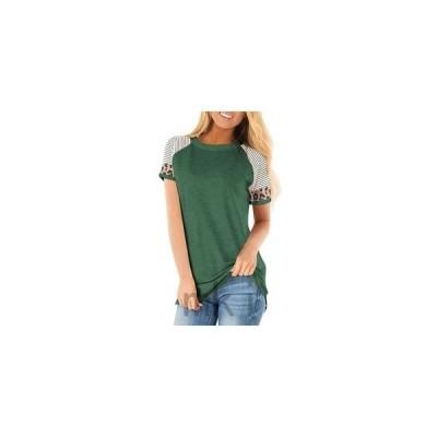 Tシャツレディース半袖レオパード切り替えカラーチュニックロング丈夏服丸首カジュアル10色欧米風トップス着痩せ着心地良い