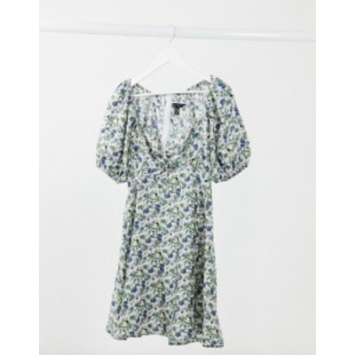 ニュールック レディース ワンピース トップス New Look puff sleeve tie front mini dress in floral Black pattern