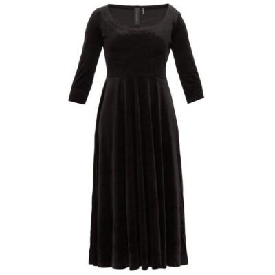 ノーマ カマリ Norma Kamali レディース ワンピース ミドル丈 ワンピース・ドレス scoop-neck velvet midi dress Black