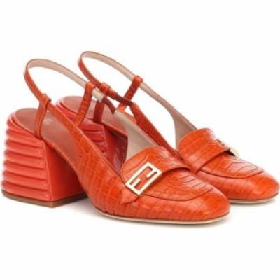 フェンディ Fendi レディース パンプス シューズ・靴 Promenade croc-effect slingback leather pumps Ruggine