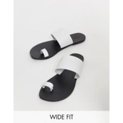エイソス レディース サンダル シューズ ASOS DESIGN Wide Fit Faro leather toe loop flat sandals White croc