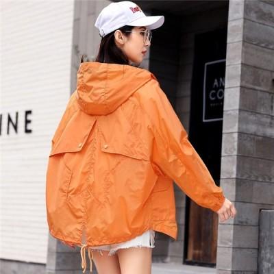 ジャケット カジュアル  フード付き アウター 超薄い 長袖 春 レディース 薄い 日焼け止め ファスナー 個性的