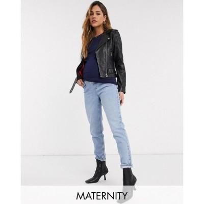 トップショップ マタニティー Topshop Maternity レディース ジーンズ・デニム ボトムス・パンツ mom overbump jeans in bleach wash ブルー