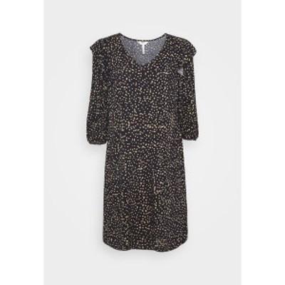 オブジェクト レディース ワンピース トップス OBJANNA LINA 3/4 SHORT DRESS - Day dress - dark blue/beige dark blue/beige