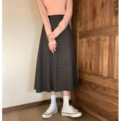 韓国 ファッション レディース スカート 花柄 ドット ロング ミモレ丈 ハイウエスト フレア 上品 レトロ 大人可愛い 春 新作