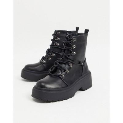 レイド レディース ブーツ&レインブーツ シューズ RAID Jackson lace up boots in black Black pu