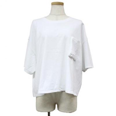PRE_ プレ ポケット Tシャツ ワイド ビッグシルエット クルーネック 半袖 コットン 綿 20春夏 ホワイト 白 FREE 【レディース】【中古】