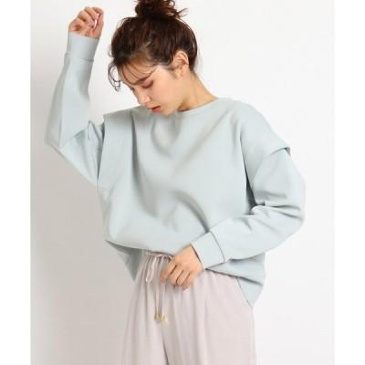 tシャツ Tシャツ 【S-LL】なめらか美人スウェットダンボール袖タックプルオーバー