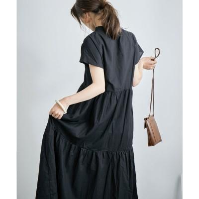 ファッションレター Fashion Letter フレンチスリーブティアードロングシャツワンピース 21SS (ブラック)