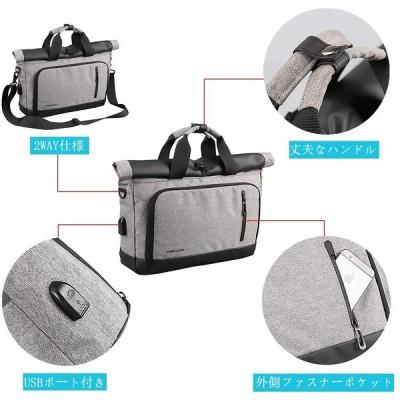 ショルダーバッグ メンズ Sanaris ボディバッグ 斜め掛け ワンショルダー バッグ 防水 ブリーフケース 14インチ A4 USB 充