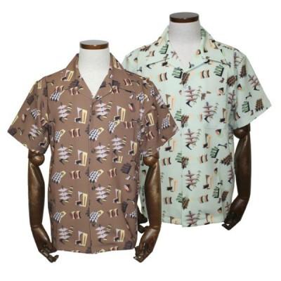グッドロッキン GRS-313 1950sアブストラクトプリントシャツ ブラウン/ミントグリーン Good Rockin