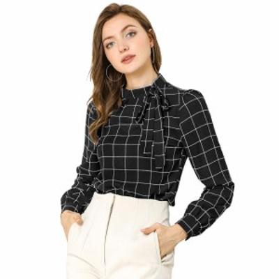 Allegra K チェックシャツ オフィス トップス ブラウス 蝶ネクタイネック レディース ブラック L