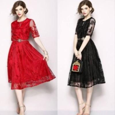 袖あり パーティードレス 袖あり 大きいサイズ 黒レース ワンピース レース パーティ ドレス ワンピース 赤  袖あり ミモレ丈 膝丈 ウエ