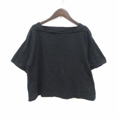 【中古】フィラージュ filage Tシャツ カットソー 半袖 ボートネック 1 黒 ブラック /CT レディース