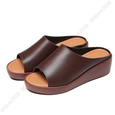 サンダル 黒 ウエッジソール ミドルヒールミュール ウェッジ ミュール 軽量 レディース靴 レトロ 美脚 厚底ウェッジ つっかけ 大きいサイズ コスプレ スリッパ