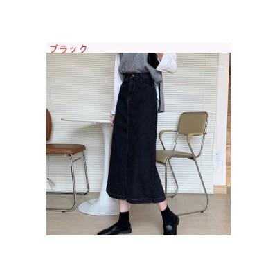 【送料無料】デニムスカート 女 春 ブラック 言葉 スカート(中位の長さ) ハイウエ | 346770_A64792-4198636