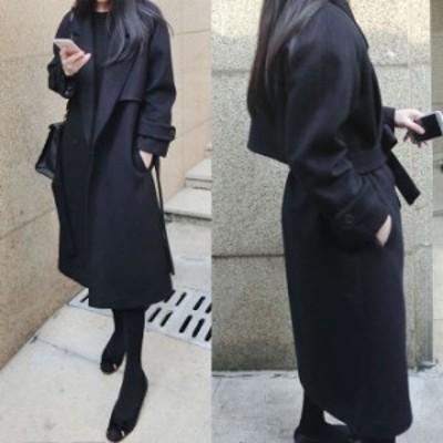 チェスターコート ロング 黒 レディース 韓国 ファッション コート 冬服 レディース ウールロングコート ウエストマーク コート 冬コート