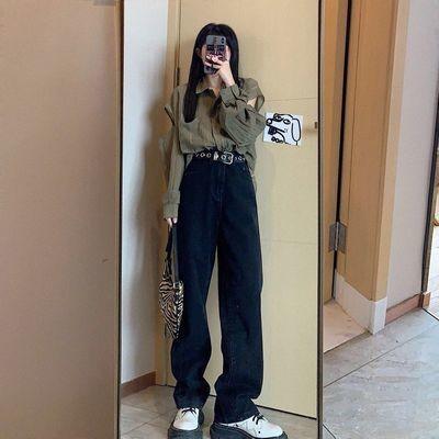 韓国のファッション レトロブラックハイウエストスリムジーンズ レディースストレートルーズモッピングパンツ ワイドレッグパンツ カジュアルパンツ