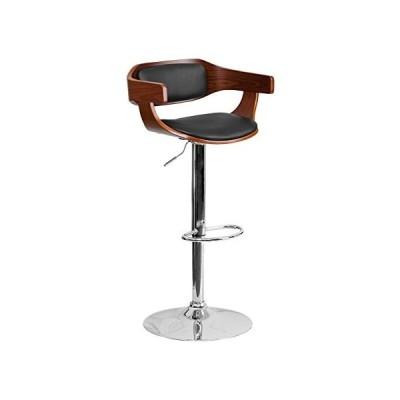 Offex OFX-400252-FF Walnut Bentwood Adjustable Height Barstool with Black Vinyl Seat並行輸入品