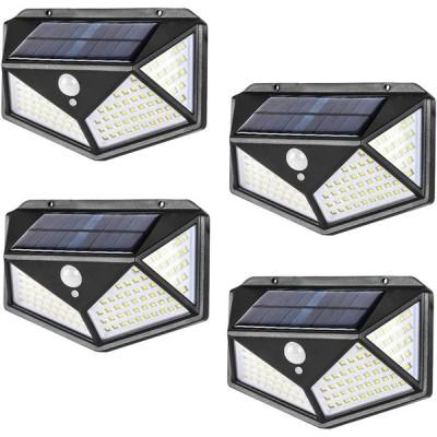 ソーラーセンサーライト(100LED 2個セット) 4面発光 光&人感センサー 防犯ライト 3つ点灯モード 太陽光発電 IP65防水 ガーデンライト