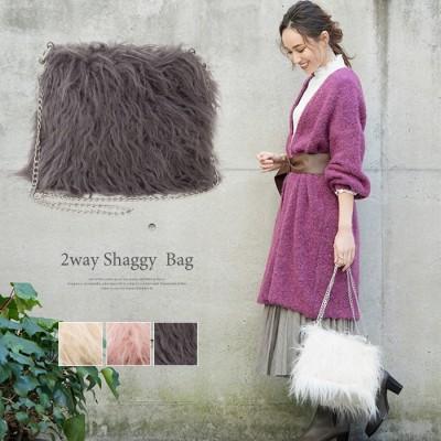 aquagarage 【在庫限りで販売終了】フェイクファー2wayバッグ 秋冬 ピンク フリー レディース
