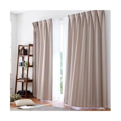 ストライプ柄ドビー織1級遮光カーテン&24時間見えにくい・UVカットレース4枚セット カーテン&レースセット, Curtains, sheer curtains, net curtains(ニッセン、nissen)