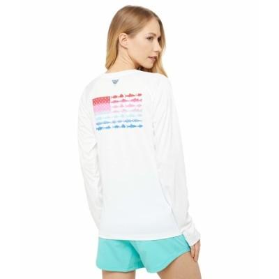 コロンビア シャツ トップス レディース Tidal Tee PFG Fish Flag Long Sleeve Shirt White/Red Lily Gradient
