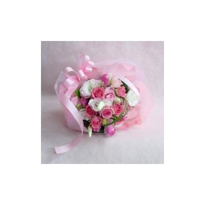 ピンクのブライダルブーケ風 短めの花束 フラワーギフト 結婚式 二次会