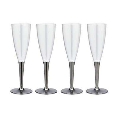 ストリックスデザイン プラスチック シャンパンカップ mozaik(モザイク)正規品 4個 シルバー 125ml 軽くて割れにくい 使い捨て