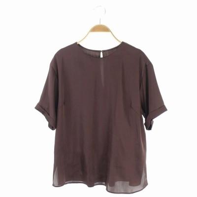 【中古】ミラオーウェン Mila Owen 20SS Tシャツライクサテントップス カットソー 半袖 0 茶 /MN ■OS レディース 【ベクトル 古着】