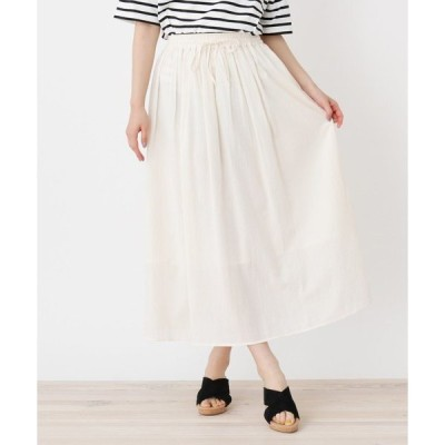 スカート <コットン100%>ウエストリボン ギャザースカート