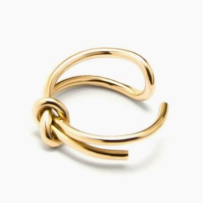フリーサイズ  ステンレス リボン 結び シンプル デザイン  指輪 リング