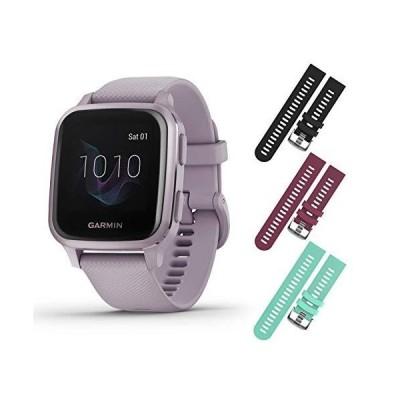 限定価格Garmin Venu Sq GPS Fitness Smartwatch and Included Wearable4U 3 Straps Bundle (Black/Berry/Teal, Lavender/Purple 010-02427-02)