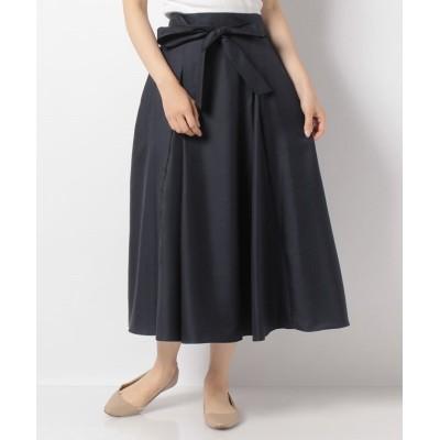 【トーナル】 ウェストリボンタックフレアスカート レディース ネイビー 38 TONAL
