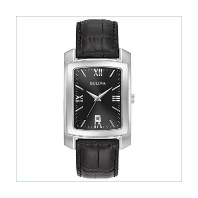 Bulova Men's Stainless Steel Analog-Quartz Watch with Leather-Crocodile Strap, Black, 20 (Model: 96B269)並行輸入品