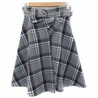 【中古】スウィングル Swingle スカート フレア ひざ丈 チェック柄 リボン XS マルチカラー グレー 紺 レディース