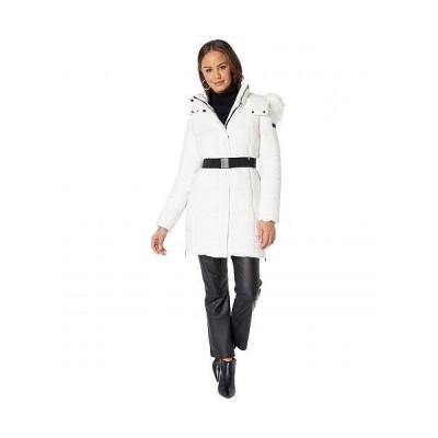 Sam Edelman サムエデルマン レディース 女性用 ファッション アウター ジャケット コート ダウン・ウインターコート Belted Faux Trim Hooded - White