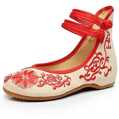 アンクルストラップ 花柄 刺繍 レディース 靴 ぺたんこ パンプス フラット シューズ カンフー(レッド23.5cm, 23.5 cm)