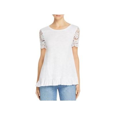 レディース 衣類 トップス Cupio Blush Womens Lace Trim Ruffled T-Shirt ブラウス&シャツ
