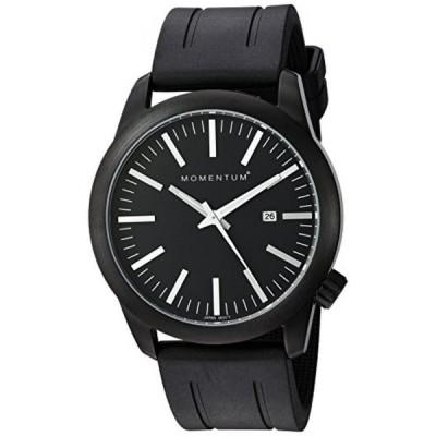 モーメンタム 腕時計 メンズウォッチ Momentum Men's Quartz Stainless Steel and Rubber Watch, Color:Black (Model: 1M-SP14B1B)