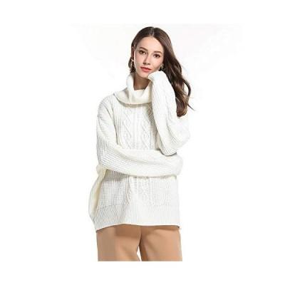 Macoking セーター レディース 秋冬 タートルネック ゆったり 肩落ち 無地 ニットセーター プルオーバー 可愛い リブ編み 厚手 暖かい 柔