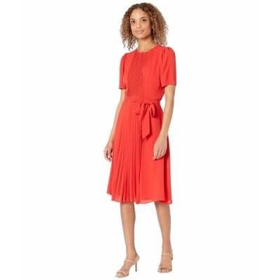 ロンドンタイムス ワンピース トップス レディース Catalina Crepe Short Sleeve Pleated Midi Dress Tomato
