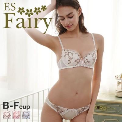 23%OFF (イーエスフェアリー)ES Fairy キューピッドリボン 3/4カップ ブラジャー ショーツ セット BCDEF 大きいサイズ グラマー(1771253A)