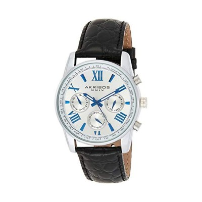 Akribos Multifunction Chronograph Men's Watch - 3 Sub-Dials Complications With Date Window On Genuine Crocodile Embossed Leather Watch - AK864 並行